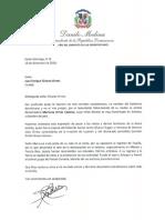 Carta de condolencias del presidente Danilo Medina a Juan Enrique Álvarez Ornes por fallecimiento de su madre, la eximia declamadora Maricusa Ornes Coiscou