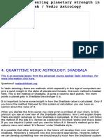 Vedic Shadbala Analysis (Strengths of Planets)
