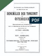 Osterreichische Lautenmusik 1650 - 1720 by A. KOCZIRZ, Wien 1918