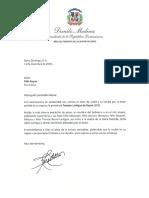 Carta de condolencias del presidente Danilo Medina a Félix Reyna por fallecimiento de su esposa, Tomasa Lantigua de Reyna