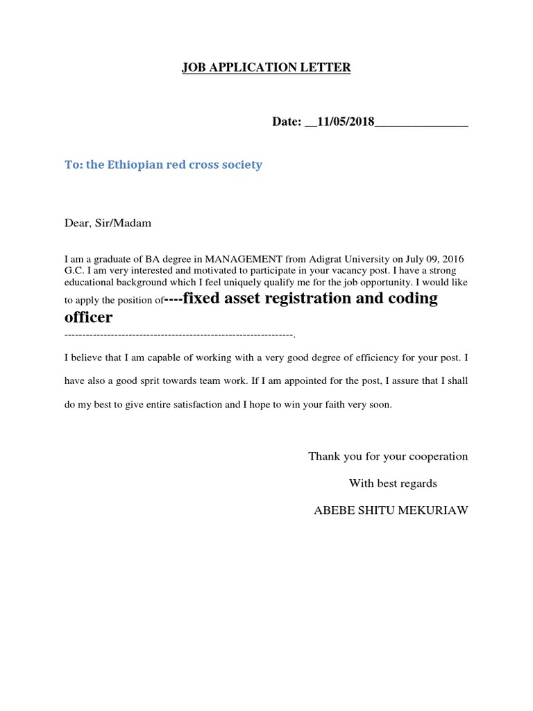 Abebe Shitu Job Application Letter Cognition Psychology