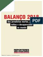 BALANÇO 2018 Dos Jornalistas Mortos, Presos, Reféns e Desaparecidos No Mundo