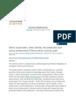 Ethnic Socialization, Ethnic Identity, Life Satisfaction and School Achievement