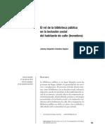 El rol de la biblioteca pública en la inclusión social del habitante de calle (homeless)