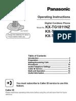 Panasonic KXTG1811/TG1812/TG1813  Cordless Phone Manual
