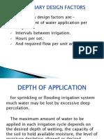 Preliminary design factors for sprinkler irrigation system