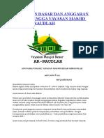 Anggaran Dasar Dan Anggaran Rumah Tangga Yayasan Masjid Besar
