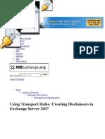 Disclaimer in Exchange Server 2007