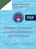 Información nutricional peces comerciales Amazonia Peruana