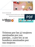 Tristeza Por Las 47 Mujeres Asesinadas Por Sus Parejas... y Por Los 31 Un Hombres Asesinados Por Sus Mujeres - La Tribuna de España