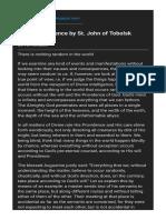 Divine Providence by St. John of Tobolsk