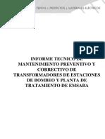 Informe de Mantenimiento Preventivo y Correctivo de Tranasformadores Emsaba
