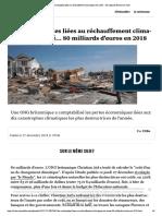 Les catastrophes liées au réchauffement... coûté... 80 milliards d'euros en 2018