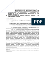 Informe de Comisión Especial Investigadora de actuaciones del Servel frente a campañas electorales. Cámara de Diputados, 2015.