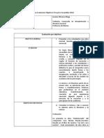 Informe Evaluación Objetivos Proyecto Ensambles 2018