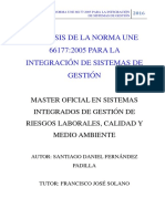 Análisis de La Norma Une 66177 2005 Para La Integración de Sistemas de Gestión