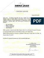 Certificazione Jazz Young Lion - Bo