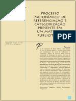 Artigo  Processo Metonímico de referenciação e Categorização presente em um material publicitário