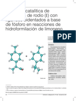 Actividad catalítica de complejos de rodio (I) con ligandos bidentados a base de fósforo en reacciones de hidrofomilación de limoneno