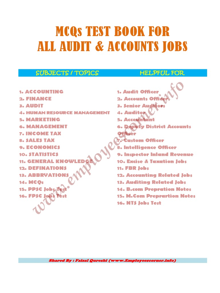 Test & Interview MCQs Book for All Audit & Accounts Jobs (1