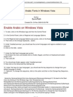 Enable Arabic Fonts in Windows Vista