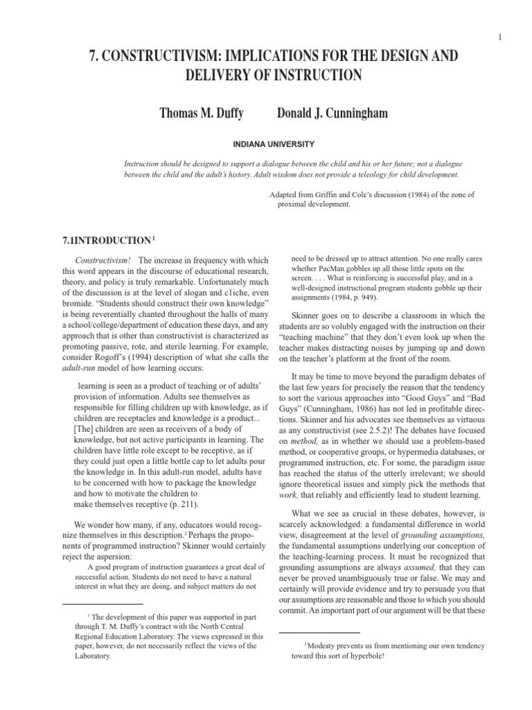 Article 5 31 P Constructivism Implications For The Design And Delivery Of Instruction Pdf Constructivism Philosophy Of Education Epistemology