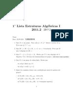 LISTA de EXERCÍCIO - Estruturas Algébricas