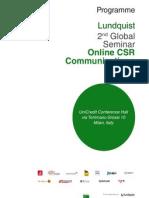 Lundquist Seminar in Online CSR Communications - Agenda