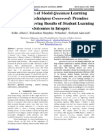 Application of Model Quantum Learning Teaching Techniques Crosswords Premises Puzzle in Improving Results of Student Learning Outcomes in Integers