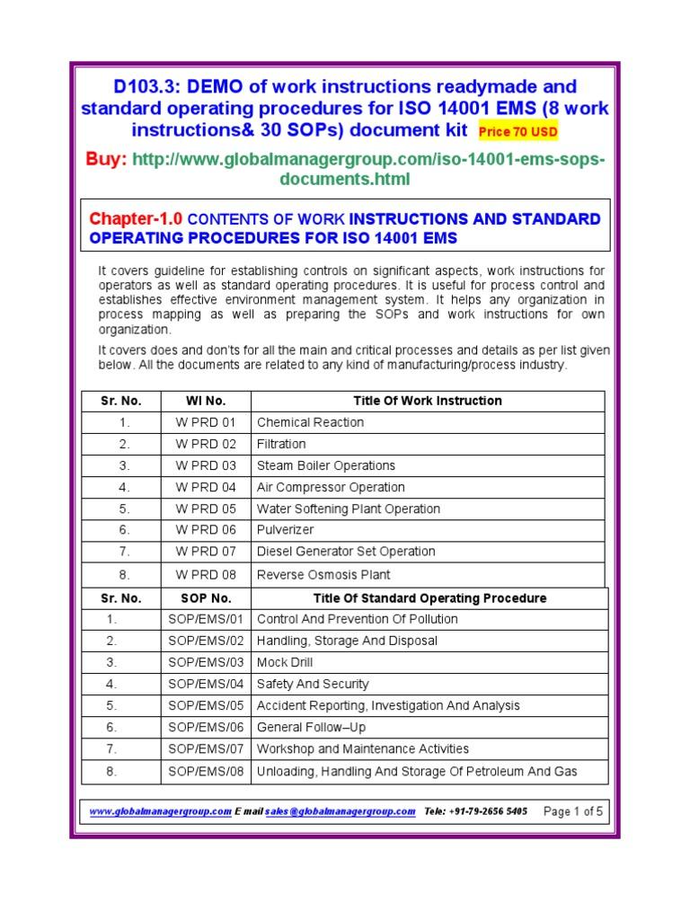 Iso 14001 Work Instruction And Sops Documentation International