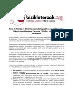 Nota de Prensa de Bizikleteroak Ante Los Vehículos Eléctricos de Movilidad Personal (VEMP) y Aclaración de Normativas