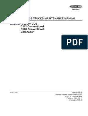 Century Class Trucks Maintenance Manual | Truck | Axle