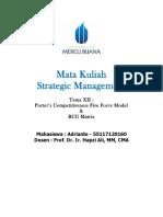 12, SM, Adrianto, Hapzi Ali, Porter's Competitiveness Five Force Model, BCG Matrix, Universtitas Mercu Buana, 2018