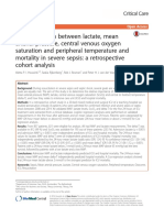 The association between lactate, mean arterial pressure, central venous oxygen saturation and peripheral temperature and mortality in severe sepsis