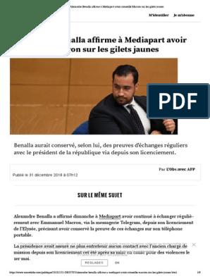 Alexandre Benalla Affirme A Mediapart A Conseille Macron