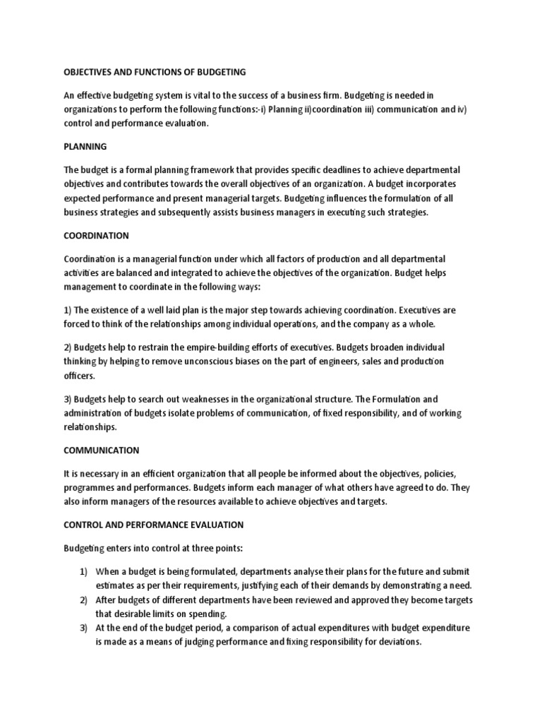 objectives and functions of budgeting
