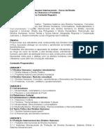 Plano de Ensino Direitos Humanos e Fronteiras - Caroline Nogueira