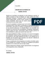 Samuel Hoyos oficializa renuncia al Congreso para aspirar a alcaldía de Bogotá