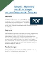 Mikrotik Netwach – Monitoring Status Access Point Hotspot Dengan Menggunakan Telegram