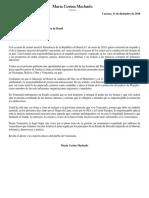 Carta de Maria Corina Machado a Bolsonaro