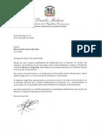 Carta de condolencias del presidente Danilo Medina a María Amalia León viuda Jorge por fallecimiento de su esposo, Marcos A. Jorge Elías