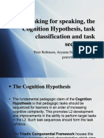 Re-thinking for speaking, the Cognition Hypothesis, task classification and task sequencing