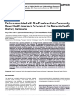 Factors associated with Non Enrollment into Community Based Health Insurance Schemes in the Bamenda Health District, Cameroon