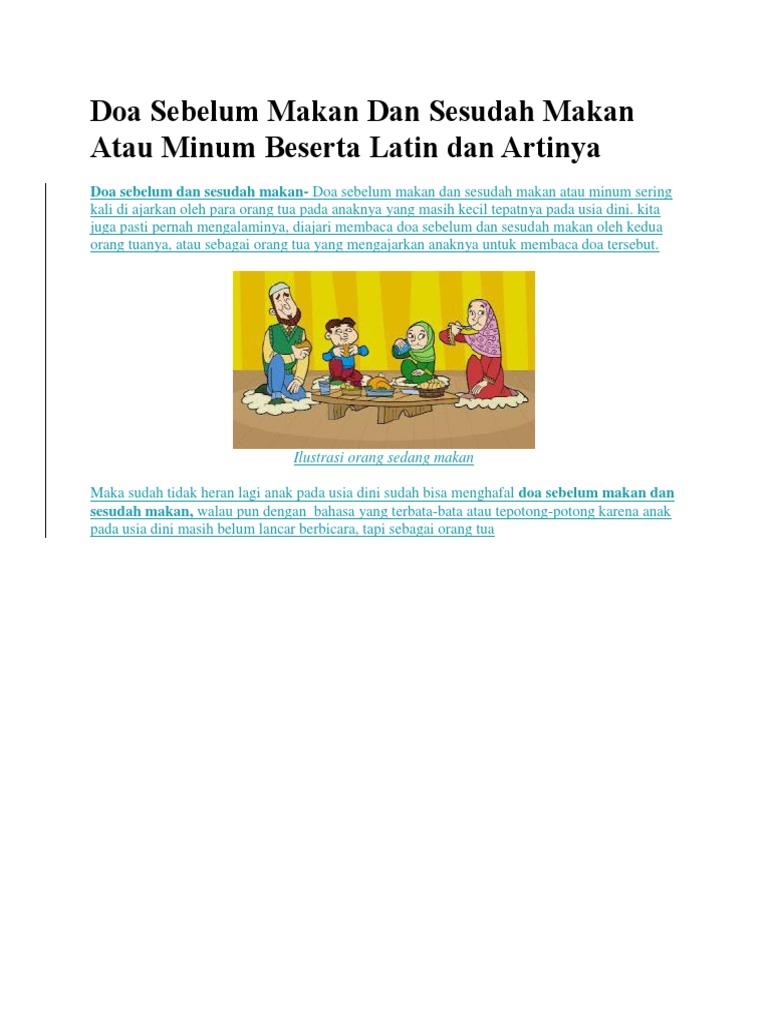 Doa Sebelum Makan Dan Sesudah Makan Atau Minum Beserta Latin