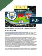 Prediksi Bola Manchester City vs Liverpool 4 Januari 2019