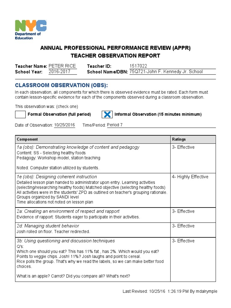 Annual Professional Performance Review Appr Teacher Observation Report Individualized Education Program Teachers