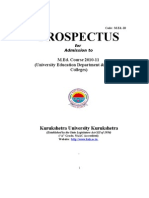 M Ed  Prospectus 2010-11 Kuk b2u by Yogesh Muneja