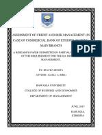 Assessment of Credit and Risk Managemen1