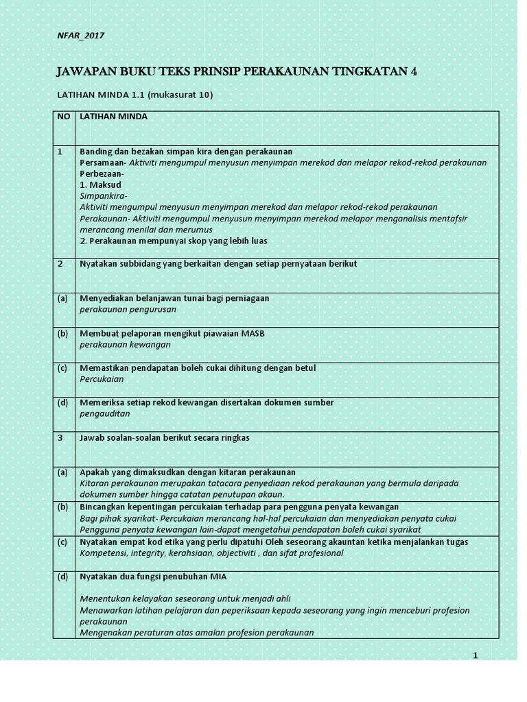 Jawapan Buku Teks Prinsip Perakaunan Tingkatan 4