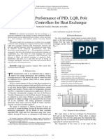 Evaluation Performance of PID LQR Pole Placement Controllers for Heat Exchanger